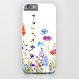 colorful wild flowers watercolor painting iPhone Case