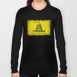 Gadsden Don't Tread On Me Flag - Distressed Retro Long Sleeve T-shirt