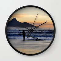 south africa Wall Clocks featuring Sunset Beach - South Africa by The 3rd Eye
