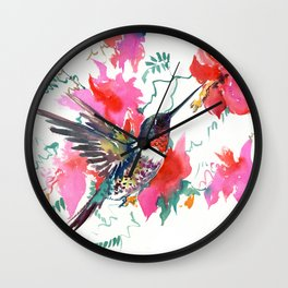 Flying Hummingbird and Pink Flowers Wall Clock