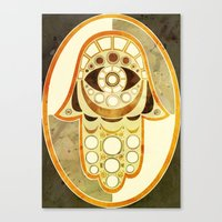 hamsa Canvas Prints featuring Hamsa by S.G. DeCarlo