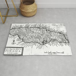 Vintage Map of Jamaica (1771) BW Rug