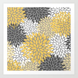Modern Elegant Chic Floral Pattern, Soft Yellow, Gray, White Art Print