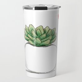 Succulent in Plump White Planter Travel Mug