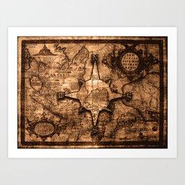 Antique World Map & Compass Rose Art Print