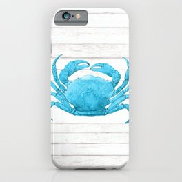 Nautical Blue Crab Driftwood Dock iPhone Case