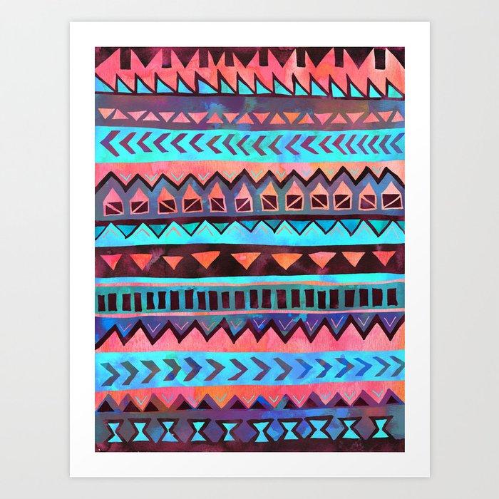 PATTERN {Tribal Stripe- Aqua} Art Print