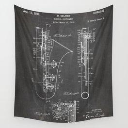 Selmer Saxophone Patent - Saxophone Art - Black Chalkboard Wall Tapestry