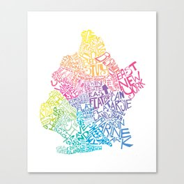 Typographic Brooklyn in Springtime Canvas Print