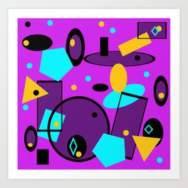 Retro abstract print purple violet Art Print