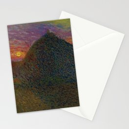 The Evening Haystack at Sunset by Henri Jean Guillaume Martin Stationery Cards