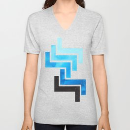 Cerulean Blue Aztec Pattern Mid-century Modern Simple Geometric Pattern Watercolor Minimalist Art Sq Unisex V-Neck