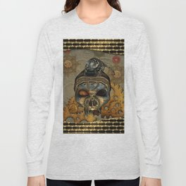 Steampunk, awesome steampunk skull with steampunk rat Long Sleeve T-shirt