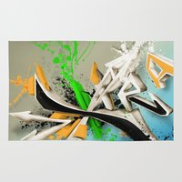 grafitti Area & Throw Rugs featuring Extra grafitti 3d abstract design by sleepwalkerMTS