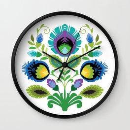 Polish Folk Flowers Teal Wall Clock