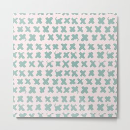 Contemporary X Paint Cross stich Pink Mint Pattern Metal Print