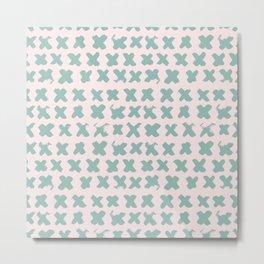 Contemporary X Paint Cross stich Pink Mint Pattern Metal Print