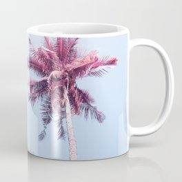 Pink Coco Palm Trees on Blue Sky Tropical Summer Poster Coffee Mug