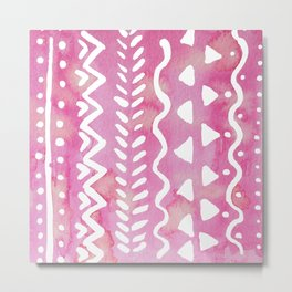Loose boho chic pattern - pink Metal Print