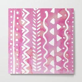 Loose boho chic pattern - pink Metal Print