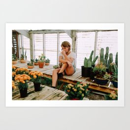 greenhouse girl Art Print
