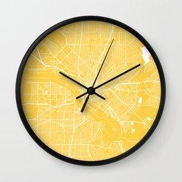 Dallas map yellow Wall Clock