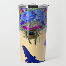 BLUE MORNING GLORIES & FLYING BLUE BIRD ART Travel Mug
