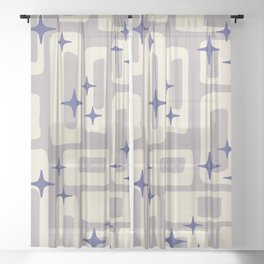 Retro Mid Century Modern Abstract Pattern 813 Gray and Blue Sheer Curtain