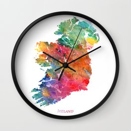 Ireland Watercolor Map Art by Zouzounio Art Wall Clock