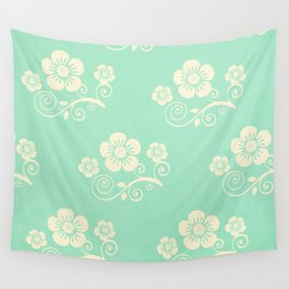 Plein Air Green Floral Pattern Design Wall Tapestry