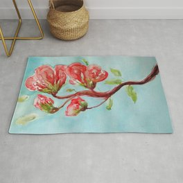 Vermilion Blossoms watercolor by CheyAnne Sexton Rug