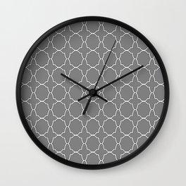 Gray Quatrefoil Pattern Wall Clock