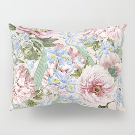 Vintage & Shabby Chic Floral Peony and Iris Flowers Garden Watercolor Pattern Pillow Sham