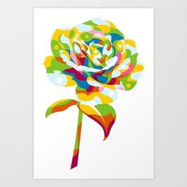 Rose Flower Pattern Pop Art Art Print