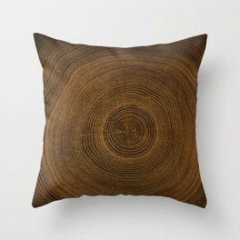 Detailed rich dark brown cut wood tree with growth rings pattern Throw Pillow