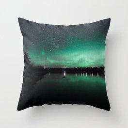 Northern Lights over Emerald Bay II Throw Pillow