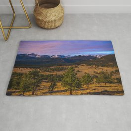 Rocky Mountain High - Moonlight Drenches Colorado Landscape Rug