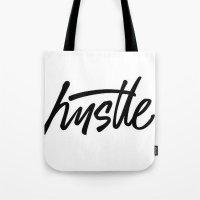 hustle Tote Bags featuring Hustle by LuxuryLivingNYC