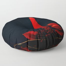 Red Candle Physalis And Rowan Fruits On Black Floor Pillow