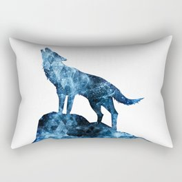 Howling Wolf blue sparkly smoke silhouette Rectangular Pillow
