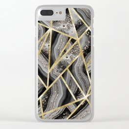 Black Night Agate Gold Geometric Glam #1 #geo #decor #art #society6 Clear iPhone Case