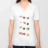 sushi V-neck T-shirts featuring Sushi by Skrich