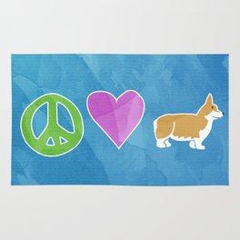 Peace, Love and Corgis Rug