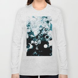 Modern Splash of Turquoise Black White Design Long Sleeve T-shirt
