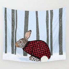Rabbit Wintery Holiday Design Wall Tapestry