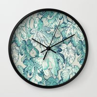 fig Wall Clocks featuring Fig Leaf Fancy - a pattern in teal and grey by micklyn