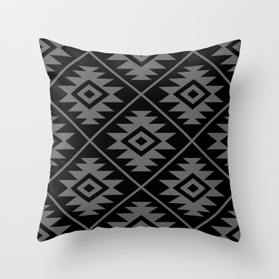 Aztec Symbol Pattern Gray on Black by nataliepaskell