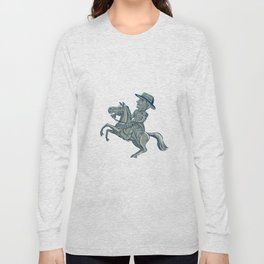 American Cavalry Officer Riding Horse Prancing Cartoon Long Sleeve T-shirt