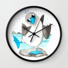 Blue Footed Nursery Illustration Wall Clock