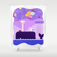 mario bros Shower Curtains featuring Tiny Worlds - Super Mario Bros. 2: Peach by Paperbeatsscissors